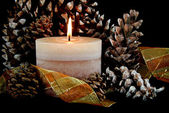 Candle with pine cones — Stock Photo