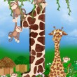Giraffe and monkeys — Stock Photo