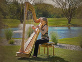 Harpist with textured overlay — Stock Photo