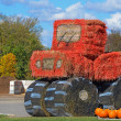 Stock Photo: Hay bale farm tractor