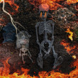 Stock Photo: Hell fire with skeletons