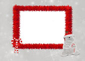 Red furry holiday frame with bear — Stock Photo