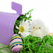 Foto Stock: Easter chick with egg