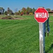 Stop sign in horse pasture — Stock Photo