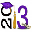 Gold tassel with purple graduation cap — Stock Photo
