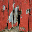 Stock Photo: Hole in barn siding