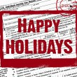 Holiday stamp on income tax form - Stock Photo