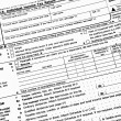 Close up of 1040 income tax form - Stock Photo