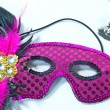 Pink sequin mask with feathers — Stock Photo