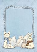Polar animals with frame — Stock Photo