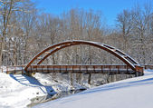 Wooden bridge in winter — Stockfoto