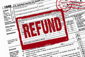 Refund stamp on income tax form — Stockfoto