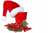 Santa's hat on red party cup — Stock Photo