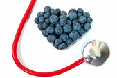 Blueberry heart with stethoscope — Foto de Stock