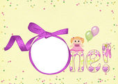 Pink ribbon frame with doll — Stock Photo