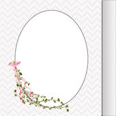 Floral branch on oval frame — Stock Photo