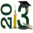 Green and Gold 2013 graduation — Stock Photo