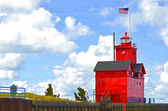 Red Lighthouse in watercolors — Stock Photo