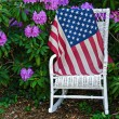 Flag on wicker chair in a garden — Stock Photo #26500189