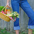 Girl with vegetables in basket — Stock Photo