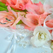 Gladiolas with wedding bands — Stock Photo #30873921