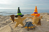 Halloween starfish on beach — Stock Photo