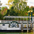 Paddle wheel boat in autumn — Stock Photo