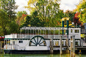 Paddle wheel boat in autumn — Stock Photo
