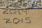 2015 New year in beach sand — Stock Photo