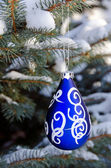 Blue Christmas ornament on pine — Stockfoto