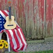 Guitar on American flag — Stock Photo