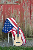 American flag and guitar — Stock Photo