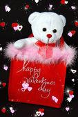 Valentine teddy bear in bag — Stock Photo