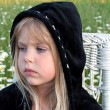 Little girl with black hoodie — Stock Photo