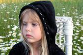 Little girl with black hoodie — Foto de Stock