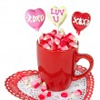 Valentine candy hearts on stick — Stock Photo #40420771