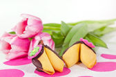 Fortune cookies and tulips — Stock Photo