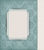 Corner slit frame on damask — Stock Photo