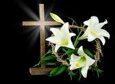 Wielkanoc krzyż i koronę — Zdjęcie stockowe