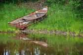 Rusty row boat in weeds — Stock Photo