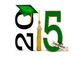 Green and gold 2015 graduation — Stock Photo