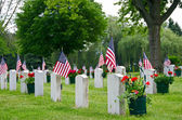 Veteran cemetery with flags — Stock Photo