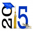 Blue graduation cap for 2015 — Stock Photo #48769725