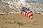 American flag on the beach — Stock Photo