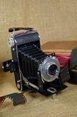 Vintage camera with film — ストック写真