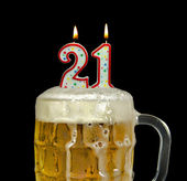 Candles in beer for 21st birthday — Stockfoto