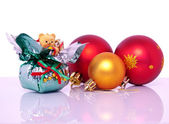 Christmas decorations and baubles at xmas — Stock Photo