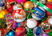 Colorful christmas bauble decorations — Stock Photo