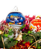 Christmas colored balls decorations — Stock Photo