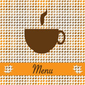 Autumn card for restaurant menu, with tea cup — Stock Vector